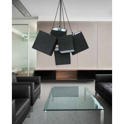 Lampa TORA pendant PL-11093 black metal/fabric Azzardo